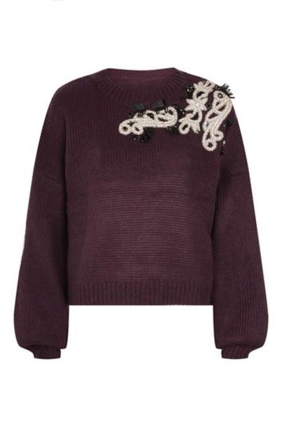 Topshop jumper embellished mohair burgundy sweater