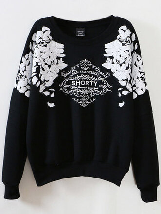 sweater black fashion jumper cool trendy fall outfits pullover long sleeves black and white floral casual winter outfits fall sweater winter sweater newchic