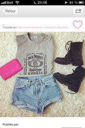 shorts,jack daniel's shirt,jack daniel's,High waisted shorts,black boots,denim shorts,shoes,t-shirt,bag
