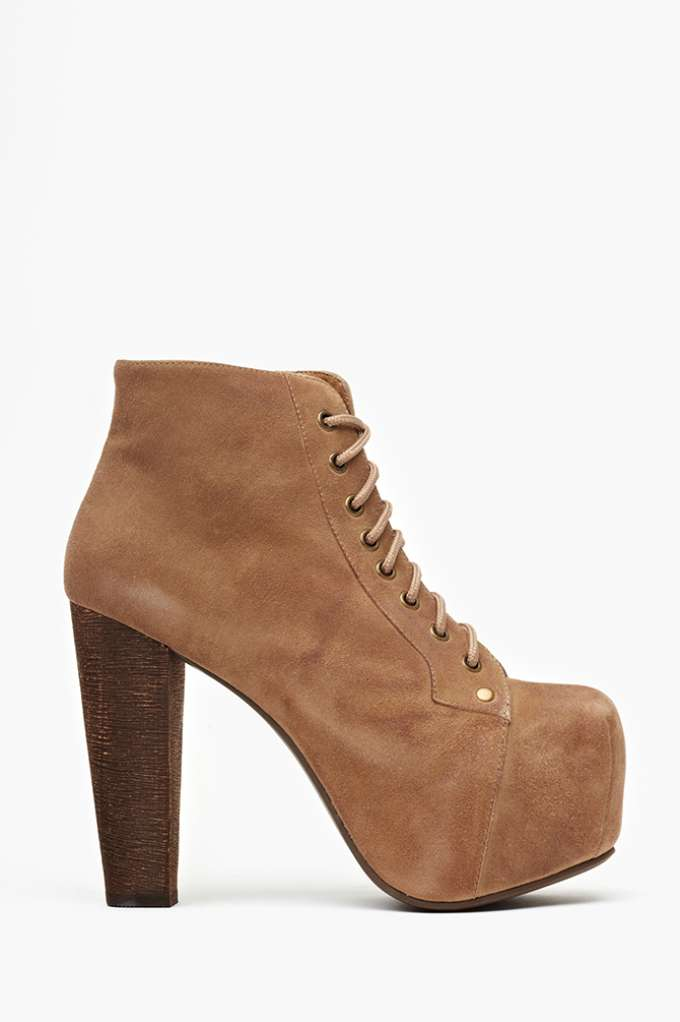 Jeffrey Campbell Lita Platform Boot - Taupe Suede in  Shoes at Nasty Gal