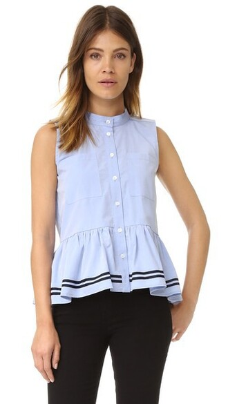 top sleeveless ruffle blue