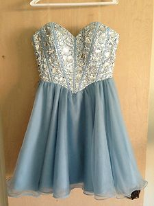 2013 Homecoming Cute Pretty Baby Blue Sweetheart Jewel Bodice Dress | eBay