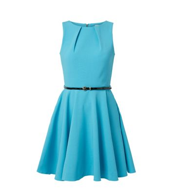 Closet Turquoise Belted Skater Dress