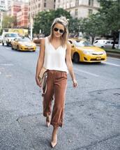 pants,tumblr,cropped pants,culottes,velvet,cropped velvet pants,velvet pants,top,white top,pumps,pointed toe pumps,office outfits