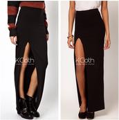 skirt,white,black,white skirt,black skirt,purple,blue skirt,slit skirt,slit,long,crop tops,maxi skirt,kcloth,hipster