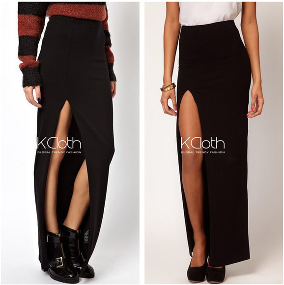 skirt maxi skirt slit white black white skirt black skirt purple blue skirt slit skirt long crop tops kcloth hipster