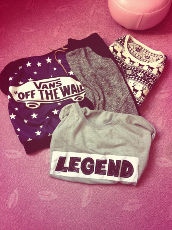 sweater vans t-shirt pants