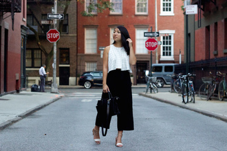 looks by lau blogger shoes bag black pants wide-leg pants white top sandals black bag culottes pants cropped pants palazzo pants handbag sandal heels high heel sandals office outfits work outfits black wide-leg velvet pants cropped wide-leg velvet pants