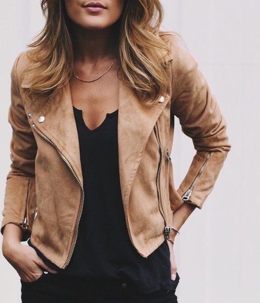 jacket biker jacket suede taupe