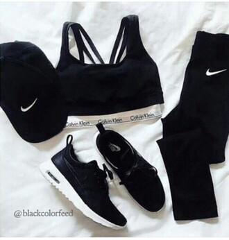 pants black nike tank top shoes nike shoes