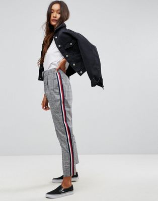 ASOS Slim Trouser In Mono Check With Sports Trim at asos.com