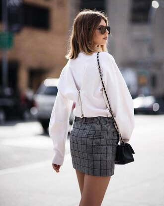 skirt plaid mini skirt mini mini skirt plaid sweater white sweater sunglasses bag