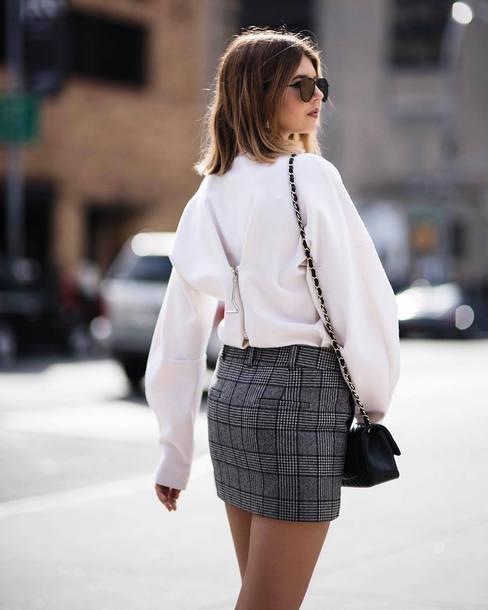 skirt plaid mini skirt mini mini skirt plaid sweater white sweater sunglasses bag