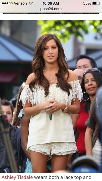 blouse ashley tisdale lace top off the shoulder top peasant top