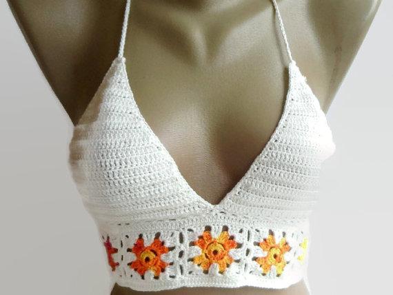 ivory crochet halter tank top Festival halter top by senoAccessory