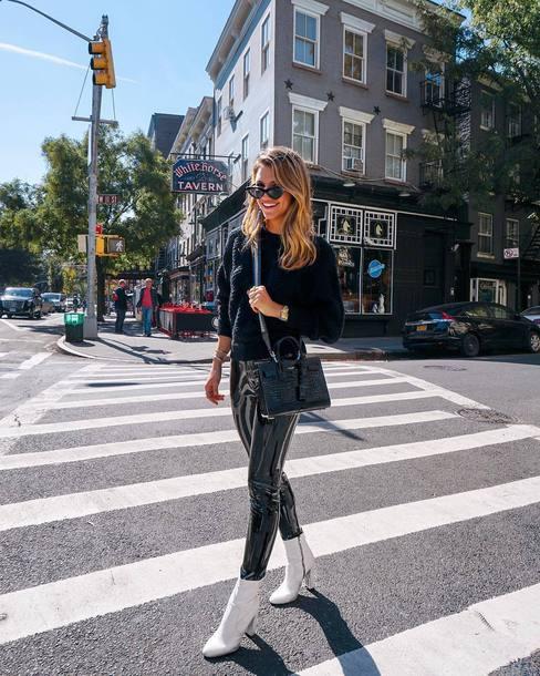 pants tumblr black pants vinyl black vinyl pants boots white boots ankle boots sweater black sweater bag