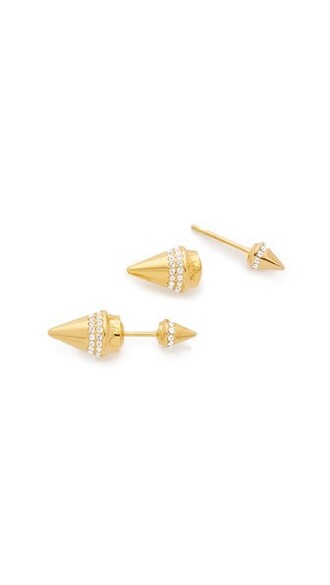 crystal earrings mini clear earrings gold jewels