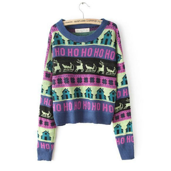 cropped sweater fall sweater deer pattern deer sweater colorful
