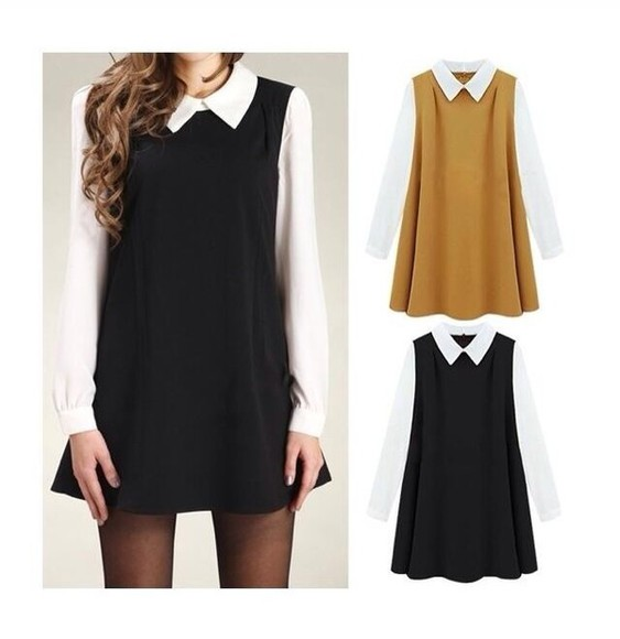 dress black long sleeves tan peter pan collar