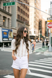top,white top,shorts,tumblr,lace top,white lace top,white shorts,denim,denim shorts,all white everything,sunglasses