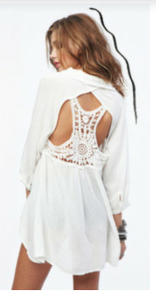 blouse white blouse dress white dress white crochet dress crochet open back