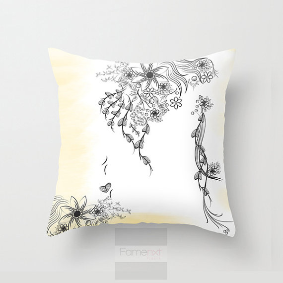 Shabby Chic Throw Pillow Case. Decorative Floral to Floral Pillow Cover. 18 inch. Double sided Print
