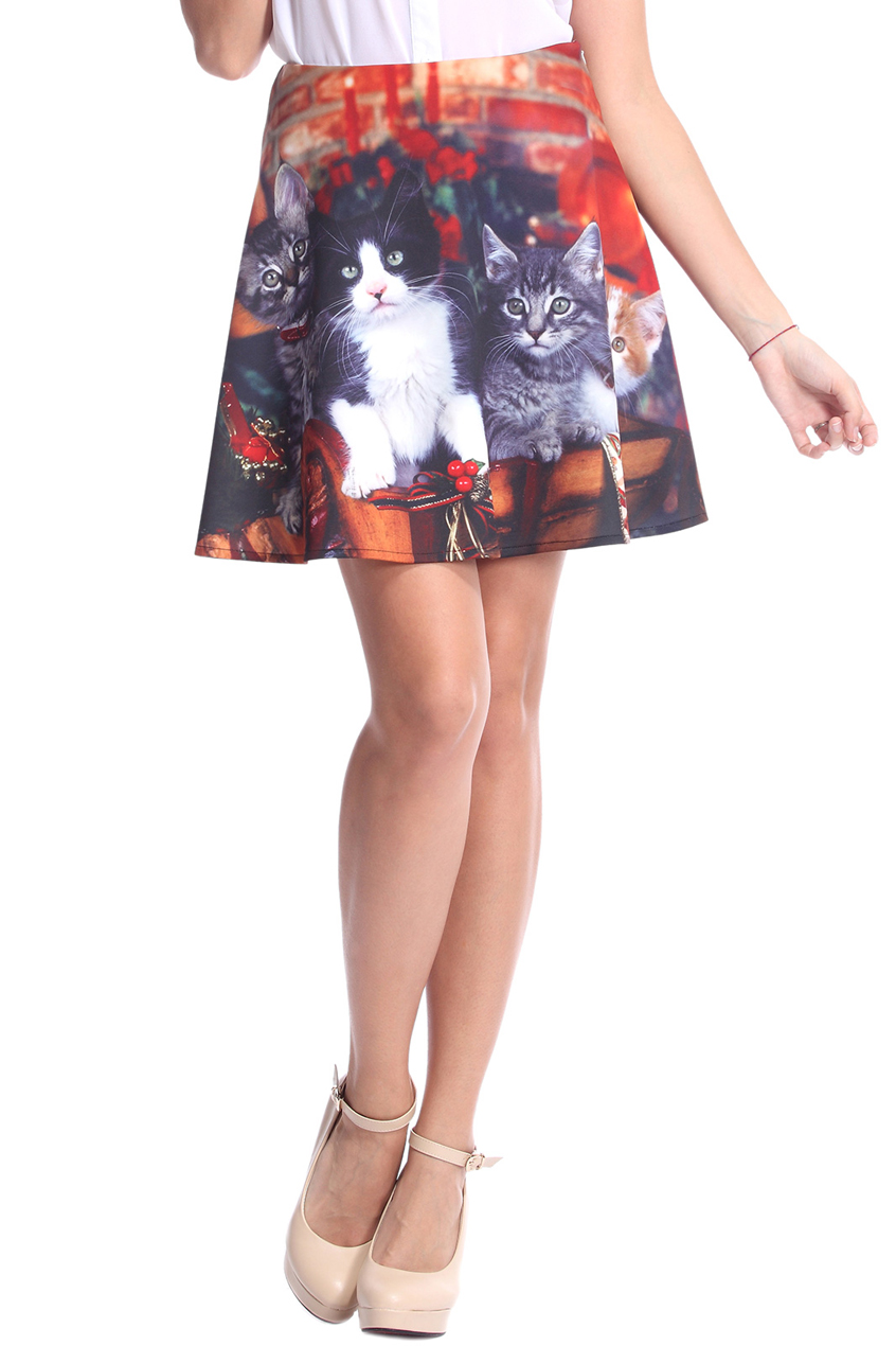 ROMWE | ROMWE Christmas Cats Print Skirt, The Latest Street Fashion