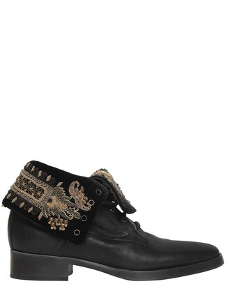 embroidered boots leather gold black shoes