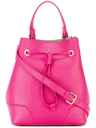 bag bucket bag purple pink