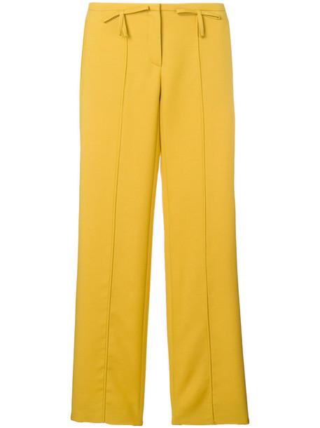 Valentino bow women silk wool yellow orange pants