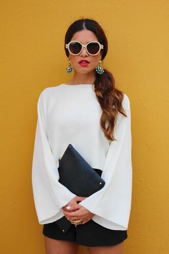 white blouse blouse wide sleeves