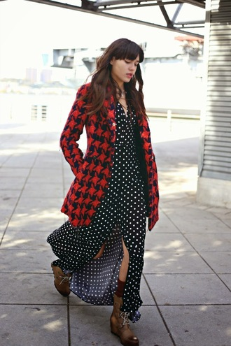 natalie off duty blogger socks leg warmers polka dots brown leather boots fall outfits houndstooth