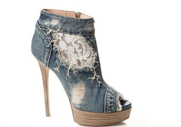 shoes high heels denim lace