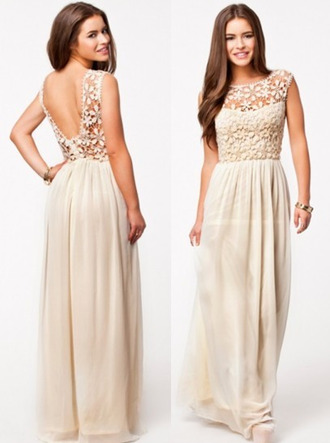 champagne taupe light long dress low back see through high waisted prom evening beachy boho chic spring beige dress skirt