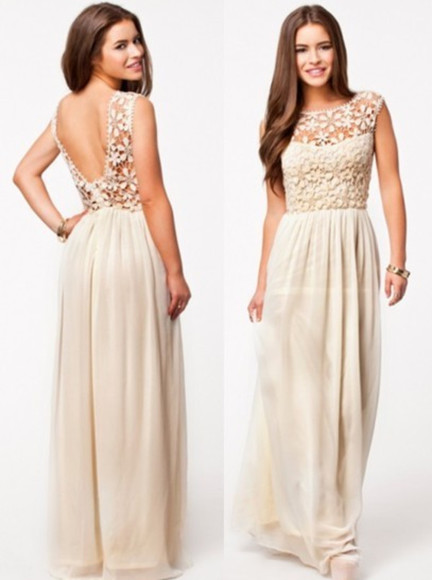 taupe boho chic low back champagne light long dress see through high waisted prom evening beach spring beige dress