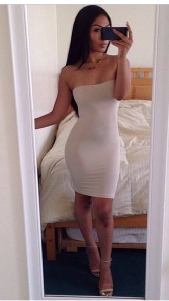 nude dress boobtube dress lovely pepa beige dress pink dress bandage dress bodycon dress sexy dress curves