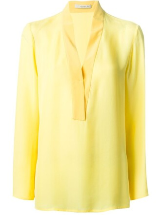 blouse loose women fit silk yellow orange top