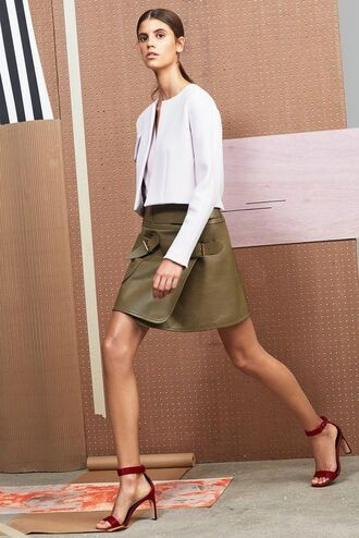 jacket olive green skirt wrap skirt barely there heels white jacket white cropped jacket white top derek lam stilettos red barely there heels cropped jacket cropped blazer