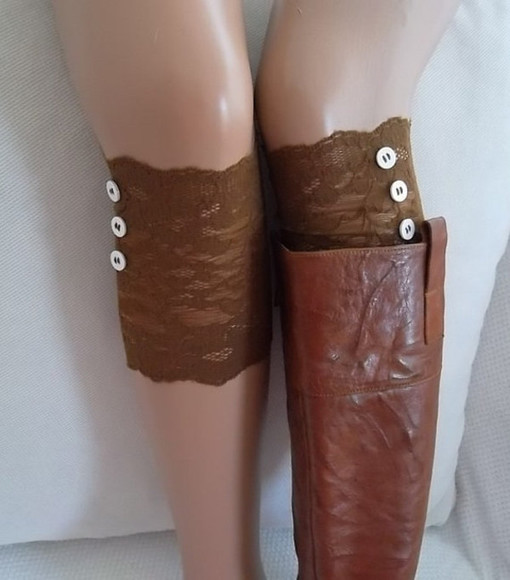 shoes bohemian boho short leg warmers lace boot cuffs leg cuffs holidays bot toppers brown lace and button leg warmers