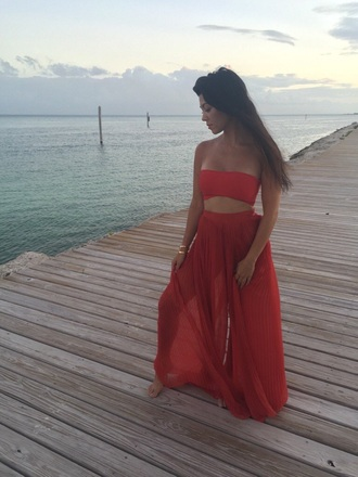 pants kourtney kardashian two-piece sheer jumpsuit wide-leg pants bandeau red pants