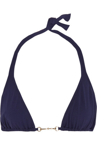 bikini bikini top triangle bikini triangle embellished navy swimwear