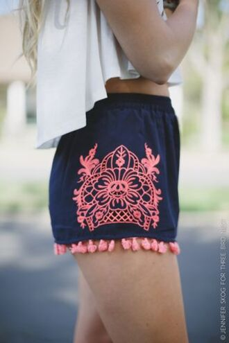 shorts embroidered shorts blue shorts tassel embroidered