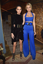 dress,pants,kendall jenner,gigi hadid,top,velvet dress,velvet,sandals,shoes,fashion week 2015,checkered,medium-size belt,bralette,blue,flare pants,jumpsuit,balmain,checkered pants,leather sandals,blue pants