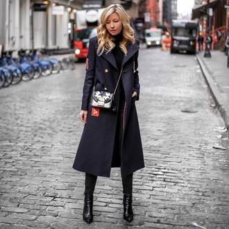 coat tumblr blue coat dark blue military style bag printed bag chain bag boots black boots ankle boots blonde hair winter outfits winter coat winter look sweater black sweater