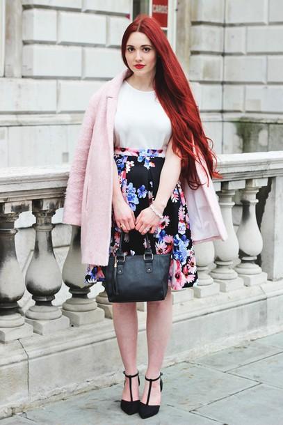briar rose blogger pink coat floral skirt coat skirt top bag shoes sunglasses jewels