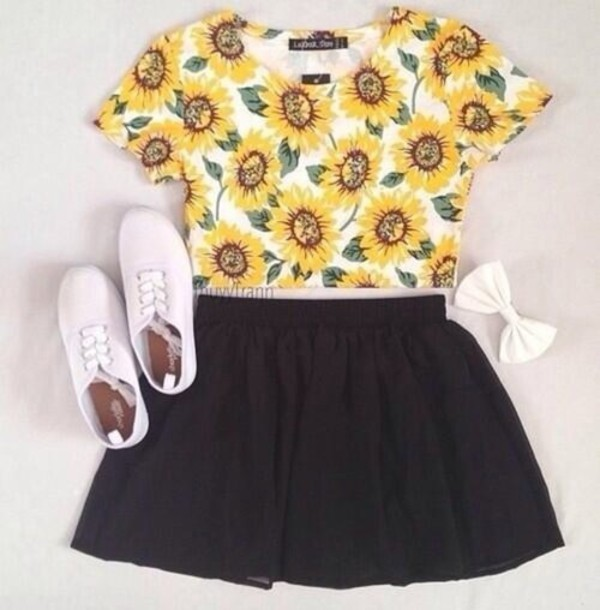 top sunflower hair accessory shorts