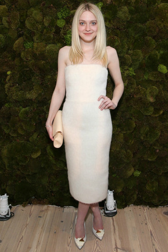 dress strapless midi dress dakota fanning pumps clutch bag
