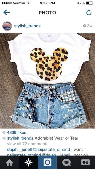 shorts jeans embellished torn shorts batoko www.batoko.com t-shirt white short sleeve leopard print mickey mouse