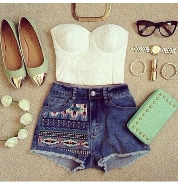 bag ballet flats gold mint pointed flats studded clutch metallic clutch shoes shorts tank top jewels blouse clutch handbag