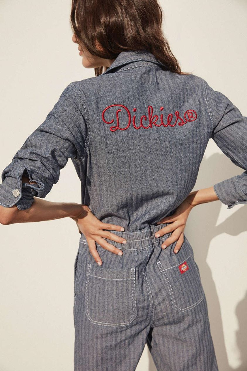 Dickies Embroidered Button-Front Coverall Jumpsuit